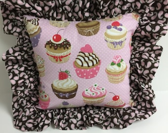 Cupcake Pillow with Coordinating Brown and Pink Ruffle