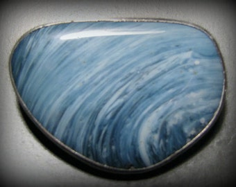 Reduced -- Vintage Signed VICSON SWEDISH Sterling Silver and Blue Glass Brooch