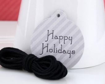 Holiday Tags, Christmas Tags, Hang Tags, Gift Tags, Striped Tags (12)