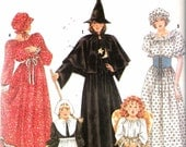 Vintage 1990 Simplicity 9809 Misses Witch, Angel, Pilgrim, Wench, Prairie, Dress Costumes Sewing Pattern Size PT- Large 6-20 UNCUT