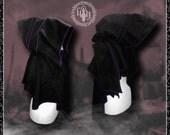Post Apocalyptic Pixie, Hooded scarf/wrap/muffler with pixie point hems, polar fleece