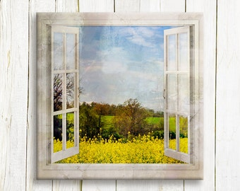 Tuscany landscape window view art print on canvas - housewarming gift