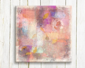 Pink Abstract art printed on canvas- Pastel colors on canvas - housewarming gift idea