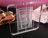 """Custom CLEAR STAMP 1.5"""" and 2"""" grid 1/4"""" thick acrylic BLOCK Laser Cut and Engraved Stamps You Design your own stamp"""