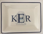 "6 x 8"" tray with school logo and monogram on top"