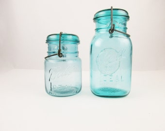 Quart and Pint 'Ball' Jars With Bales - 'Ball Ideal' Jars With Bales - Blue Green Glass - Primitive - Stash and Store
