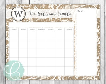 Family Calendar - 16x20 Dry Erase Calendar