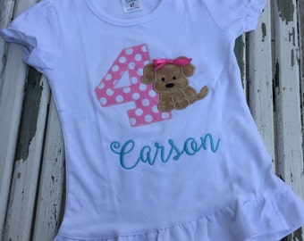 Puppy party girls birthday shirt pink & aqua with number and name