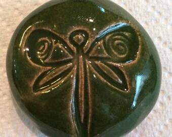 DRAGONFLY  Pocket Stone - Ceramic - GREEN Art Glaze - Inspirational Art Piece
