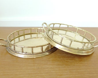 Two small round brass bamboo trays, wonderful Hollywood Regency style