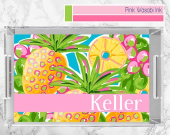 Pineapple Lucite Tray Personalized Acrylic Tray Monogrammed Lucite Serving Tray Tropical Beach House Decor