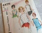 Simplicity Pattern 4476 1960s Misses' Blouses Size 14 Bust 34 Uncut