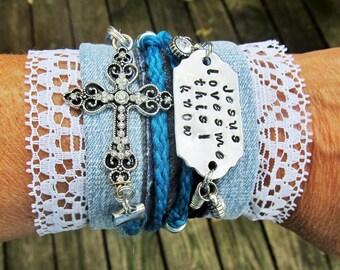 Denim Wrap Bracelet, Personalized Cross Bracelet, Hand Stamped Denim Bracelet, Jesus Loves Me Bracelet, Personalized Denim Wrap Bracelet