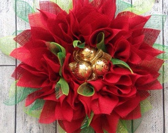 """Red Poinsettia Wreath, Holiday Wreath, Christmas Wreath, Red Burlap Wreath, Red, Green & Gold, 25"""""""