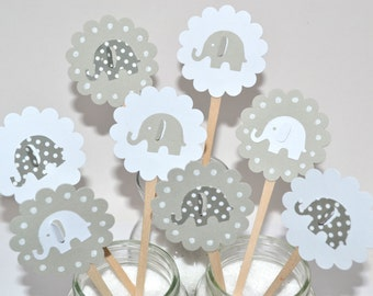 12 Elephant Cupcake Toppers / Elephant Baby Shower / Elephant Invitation / Elephant Party Decor/ Baby Shower Cupcake Toppers