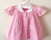 70s Tiny Tots Baby Girl Pink Pintuck Flower Pocket Dress, Size 12 Months