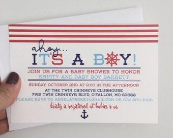 Nautical Baby Shower Invitation, Ahoy Its a Boy Invite, Boy Nautical with Anchor Baby Shower Invite
