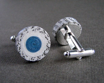 Customized paper anniversary gift for husband • Handmade recycled newspaper grey and blue men's cufflinks • Free shipping