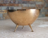 Atomic footed brass dish - three footed brass bowl - Atomic style brass dish by Saxton of California