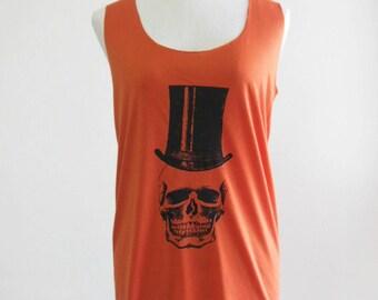 Skull Hat Zombie shirt women tank top sleeveless size M