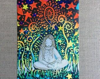 Sea of stars postcard artcard meditation fish wonderland