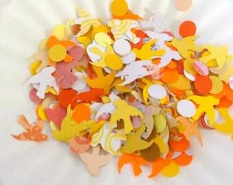 Dove confetti - Yellow - orange -  bird confetti - doves and dots mix - Hand punched - table confetti - table sprinkle - party confetti