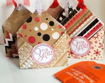 6 Christmas Double sided Tea Bag Holders, Tea Party Favors, Each holds 2 tea bags, gift card holder, hand made by Wcards