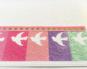 Dove cards - bird cards - large handmade card - embossed - doves - colorful - blank cards - all occasion cards - Wcards