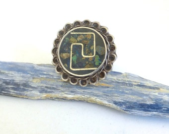 Vintage Taxco Mexican Sterling Silver Tribal Ring