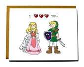 Zelda funny I heart you card, Valentines card, I love you card