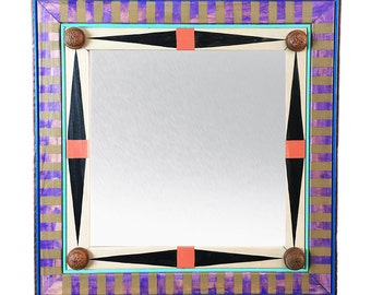 Decorative Mirror, Accent Mirror, Painted Framed MIrror
