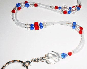 SALE Patriotic Crystal Beaded Id Lanyard, Beaded Lanyard, Teacher Lanyard, 4th of July Lanyard, Badge Holder, Women Lanyards, LY22201