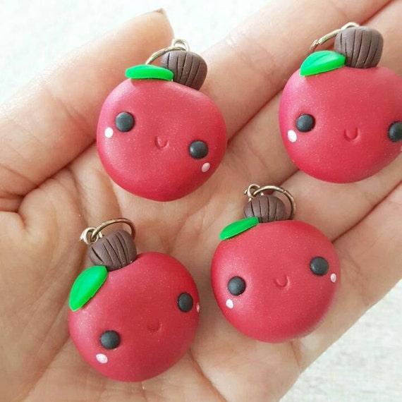 Apple Charm, Apple Polymer Clay Pendant, Food, Miniature Food Charm, DS Charm, polymer clay, clay pendant, Kawaii, Chibi, Clay Charm