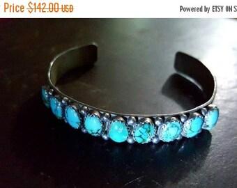 SALE - Turquoise & Sterling Silver Cuff Bracelet - C. Yazzie
