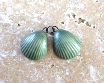 Handmade stoneware shell earring charms - 1 PAIR