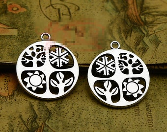10pcs 25mm x 29mm Four Seasons Charm Antique Tibetan Silver Tone Absolutely Stunning - SC2705