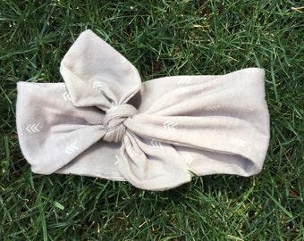 Big bow grey headband with chevron/arrow pattern