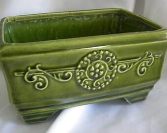 Olive Green Rectangular Planter   High Glaze   Vintage 1960s