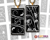 BLACK WHITE ORNAMENT - 1x2 inch Digital Collage Sheet Printable Download for domino pendants magnets jewelry paper craft