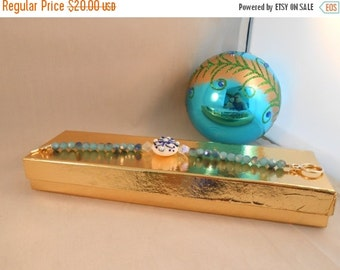 ON SALE Light blue crystal beaded bracelet,snowflake beaded bracelet,winter bracelet