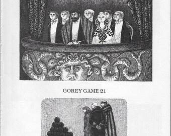 "Edward Gorey Posters ""20 21 22 23"" Gashlycrumb Tinies Black and White Vintage Gorey Art Gothic Decor Goth Art Print Gory Gorey Illustration"