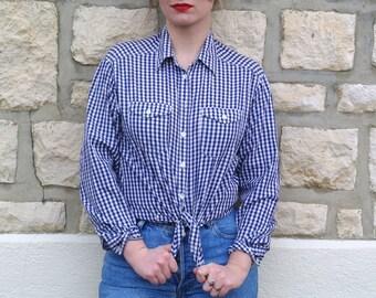 Vintage 90  White and bleu Check Shirt