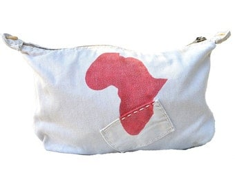 Ali Lamu Large Clutch Bag Natural Africa Red