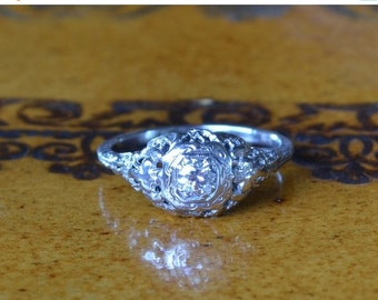 MAY(BE) SHE Will...Sale Antique Diamond Engagement Ring // White Gold Art Deco or Edwardian Diamond Engagement Ring // Vintage Engagement Ri