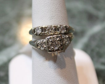 SALE+++Diamond gold Wedding set 1950's .82 carats total