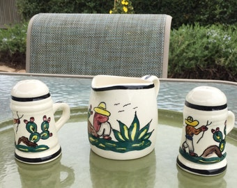 Ceramica Artistica Gomez Mexican pottery, salt and pepper shakers and creamer, hard to find Southwestern pattern, mid century