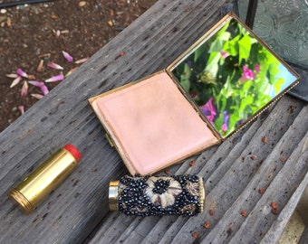 Lovely vintage lipstick holder & compact mirror powder case, black seed beads, brocade floral design, faux pearl trim, brass, 50's era