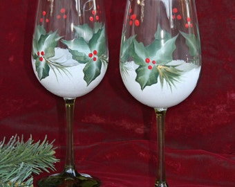 Hand Painted Christmas Wine Glasses (Set of 2)  - Green Stem