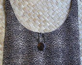 Handmade in Hawaii Round Bottom Mini Leopard Print Hobo Bag Lined, Pocket Inside