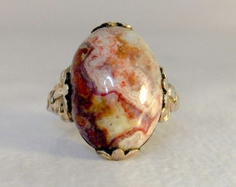 10K Clark & Coombs Gold Filled Agate Ring    Size 4 1/4   Art Deco